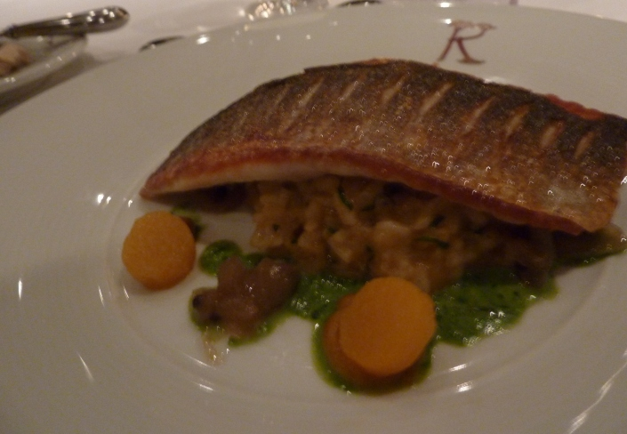 Pan-fried sea bass at Prestonfield House Hotel