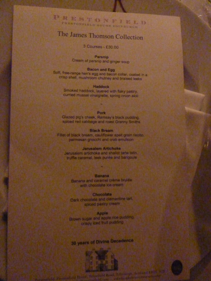 Dinner at Prestonfield House Hotel - Menu